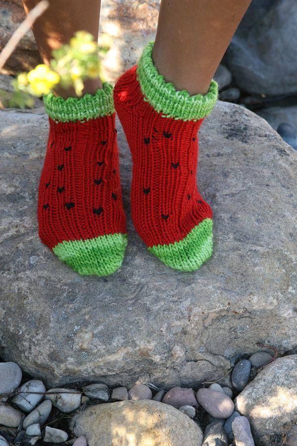 Shorty Watermelon Socks - free loom knit pattern | Free Loom Knit ...