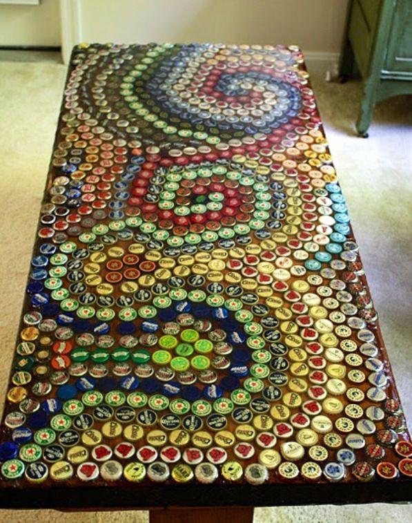 mosaic design bottle cap table top idea