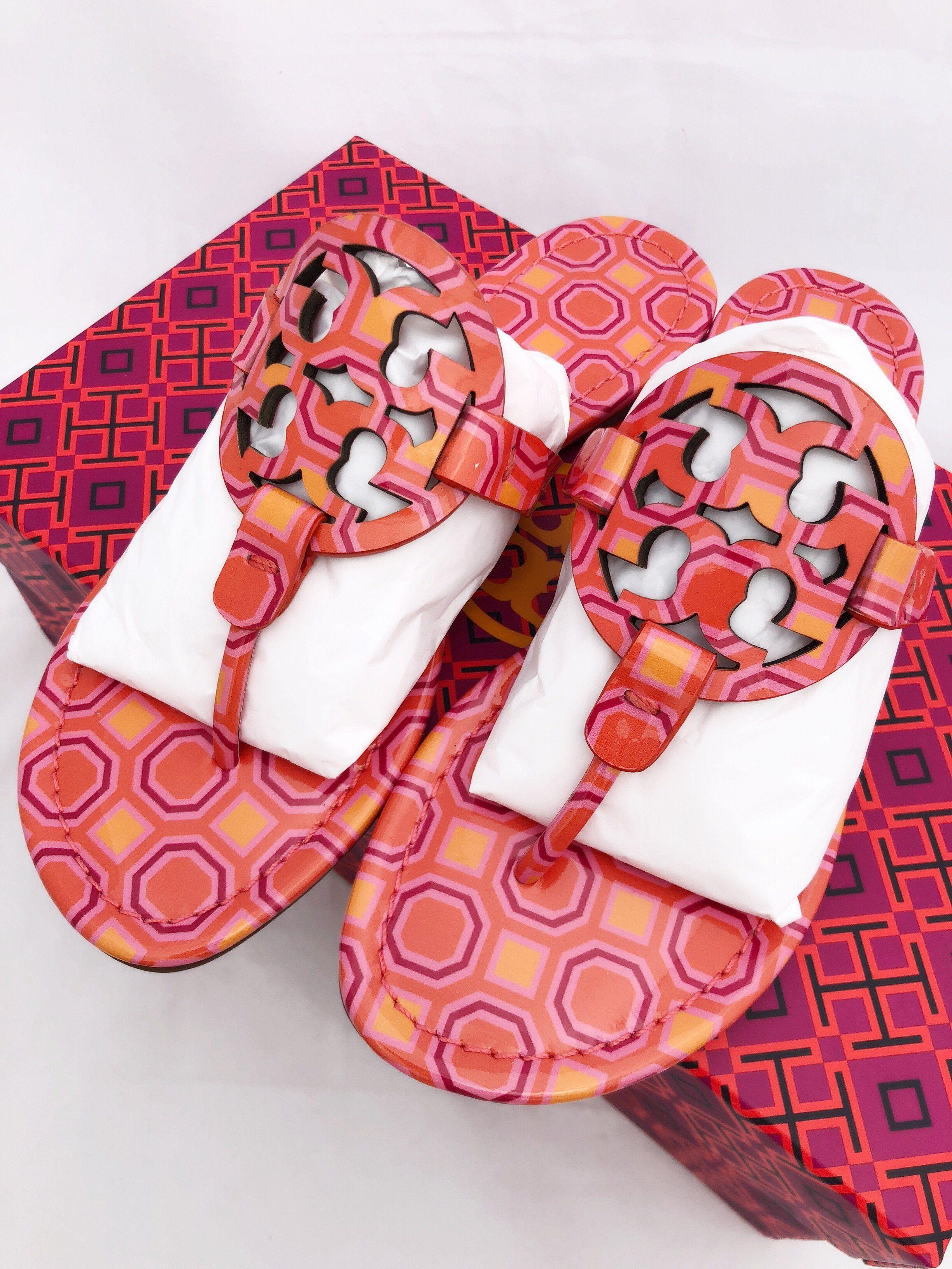 95ea98c5bfc9d Tory Burch Miller Sandals Flip Flop Vivid Orange Sqaure Coral Pink 7 7.5 8  8.5 10  GabysBags  amazonfashion  poshfashion  ebayfashion  mercariapp ...