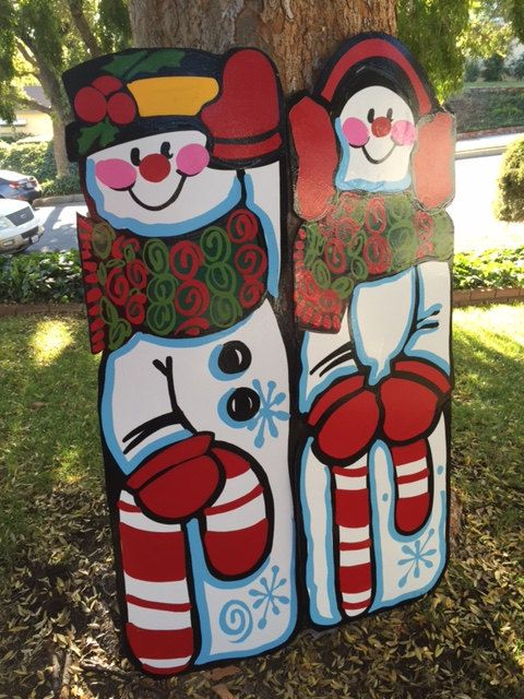 Mr and Mrs Snowman Outdoor Holiday decorations yard art Snowman - inflatable christmas yard decorations