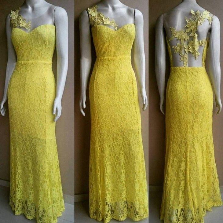Vestido de renda e tule amarelo