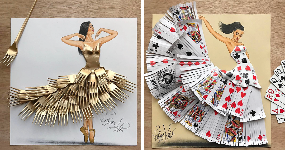 Artis Design : Artist makes dresses from everyday objects