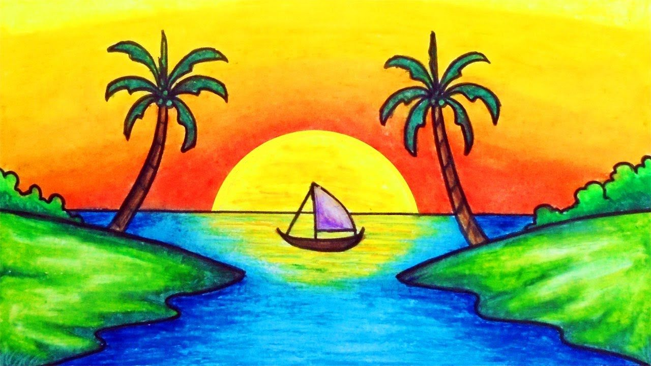 How To Draw Easy Scenery Drawing Simple Sunset Scenery Step By