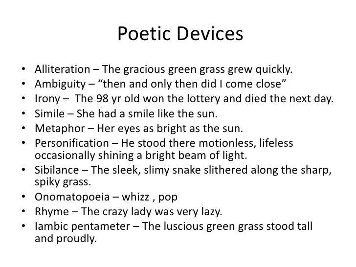 Poetic Devices Examples | poetry | Pinterest