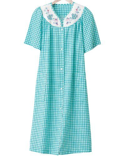Checked House Coat Night Gown Dress Sleepwear Women Womens Robes