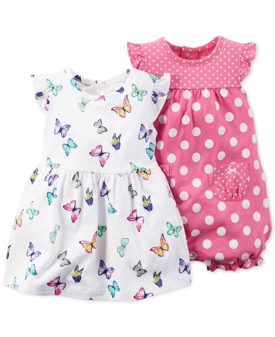 6d52bb4164ee Carter s Baby Girls  2-Pack Butterfly Dress   Pink Dot Romper