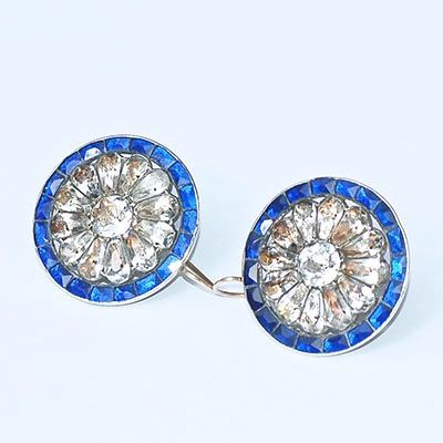 Georgian buttons 1780-1800 converted to earrings. Cobalt blue Vauxhall glass surrounding colourless pastes set in silver.