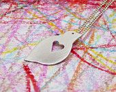 Silver Bird pendant with heart,gift under 35, woodland style, hand cut, sterling silver, crub chain, affordable Valentine's gift