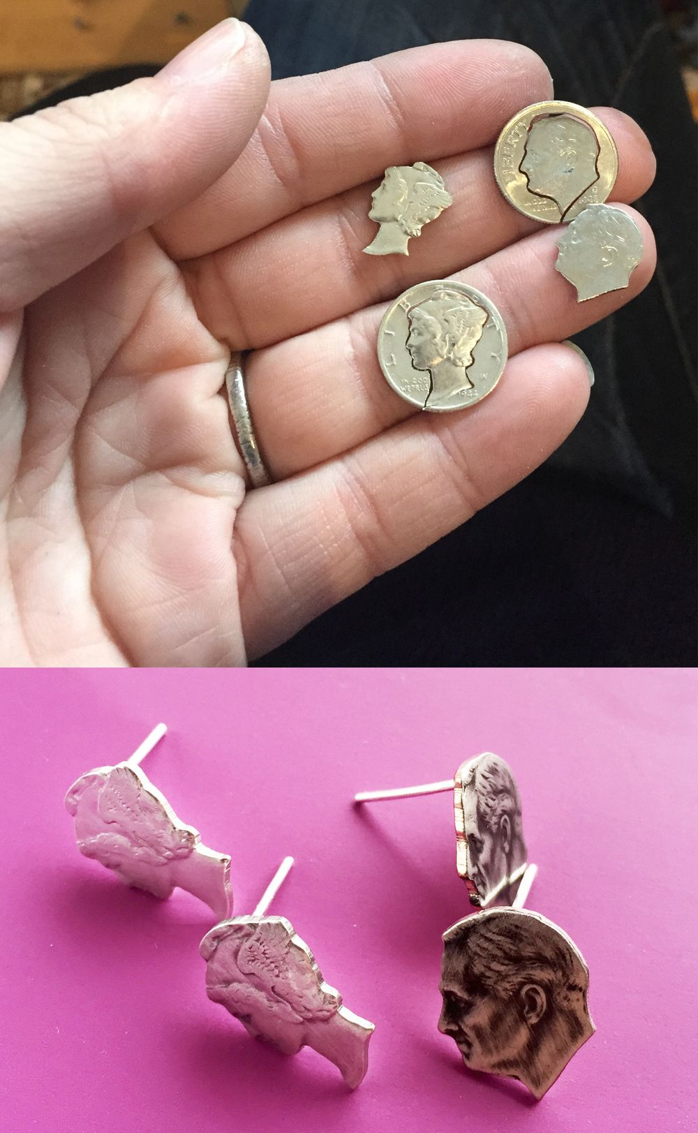 these dime head earrings are hand cut from real money!