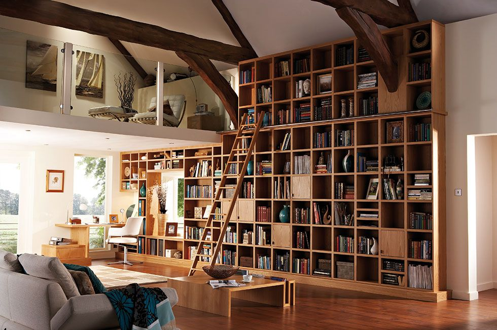 This Bespoke Study Library By Neville Johnson Utilises A Whole Wall Of Floor To Ceiling Shelves For Abundent St Home Library Design Home Library Home Libraries