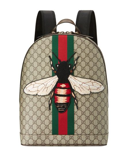 Gucci Animalier Backpack In GG Supreme Canvas With Hand Embroidered And Applied Bee Appliqu Signature Green Red Web Stripe Down Center Front