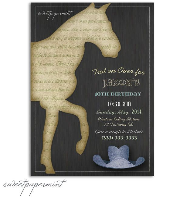Vintage Horse Child's Boy Birthday Invitation Card