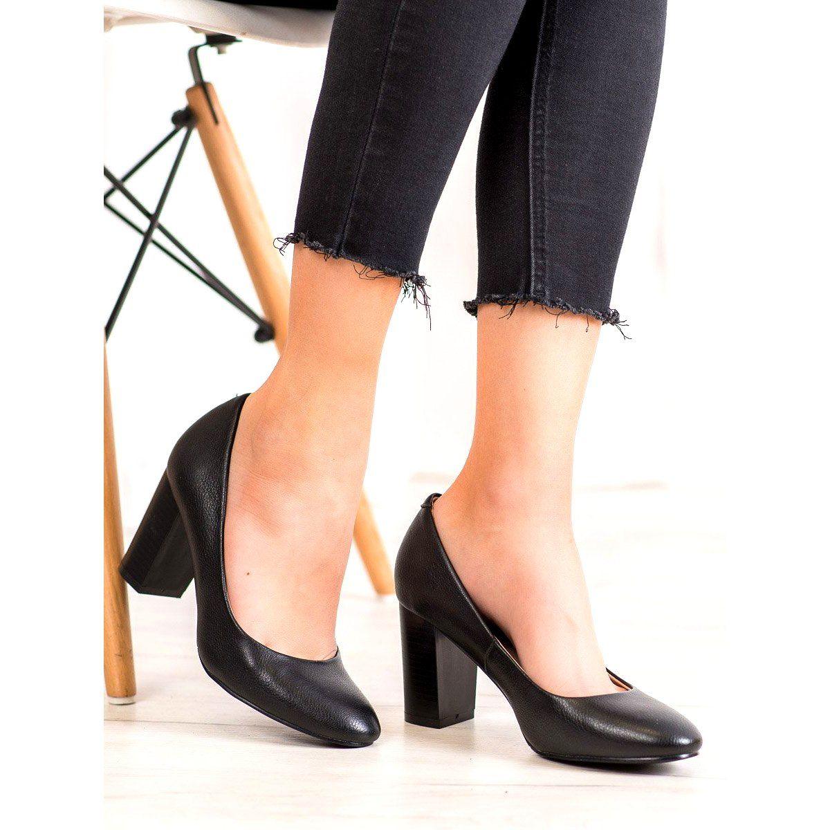 Wygodne Czolenka Vinceza Czarne Stiletto Heels Heels Pumps