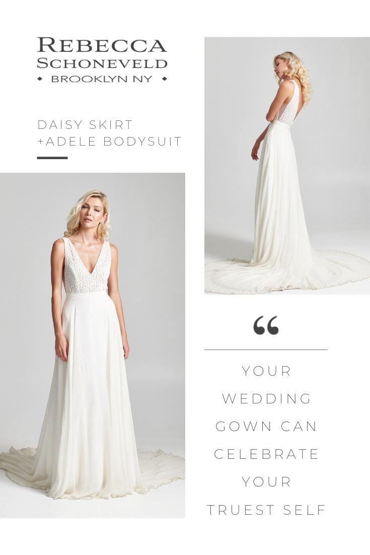 Enter The World Of Brooklyn Ny Bridal Designer Rebecca Schoneveld Discover Striking Handcrafted Mode In 2020 Rebecca Schoneveld Bridal Jumpsuit Beach Wedding Dress