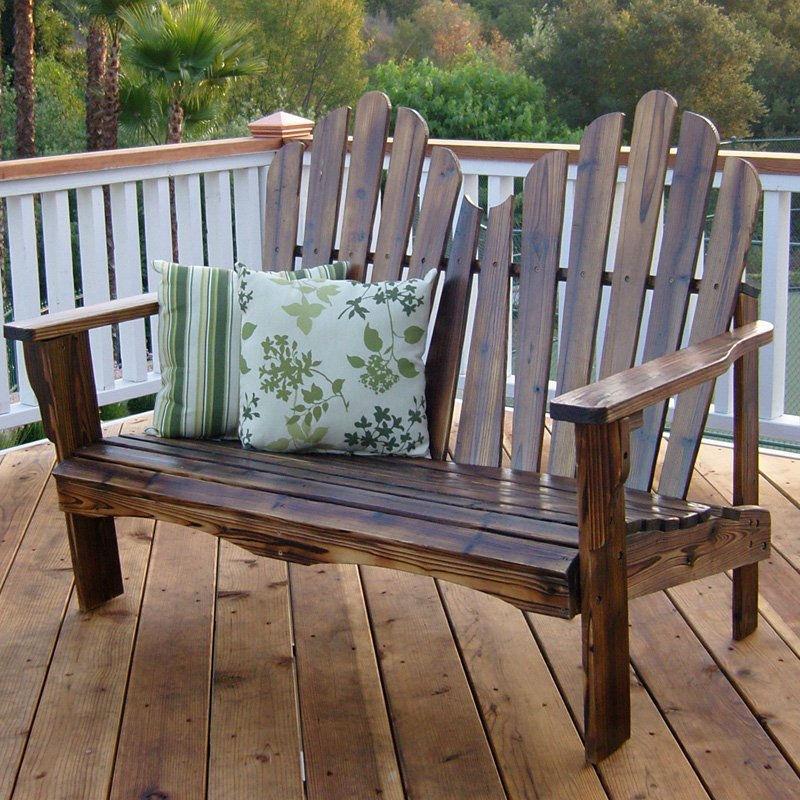 Outdoor Garden Bench Loveseat in Burnt Brown Wood Finish ...