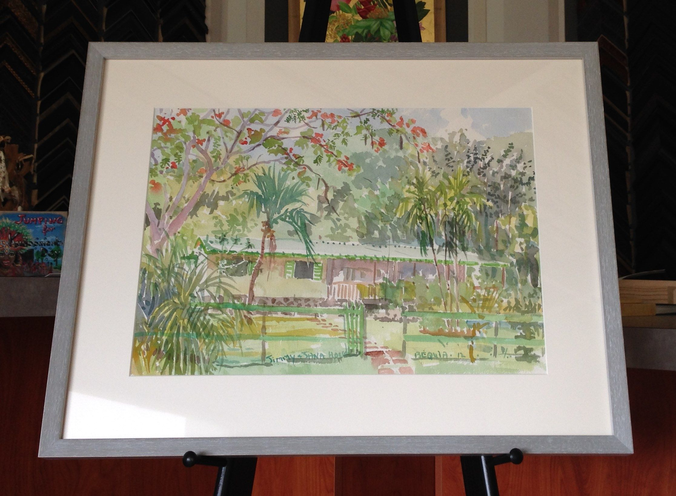 Original Bequia watercolor framed in Nurre Caxton Ashley Collection ...