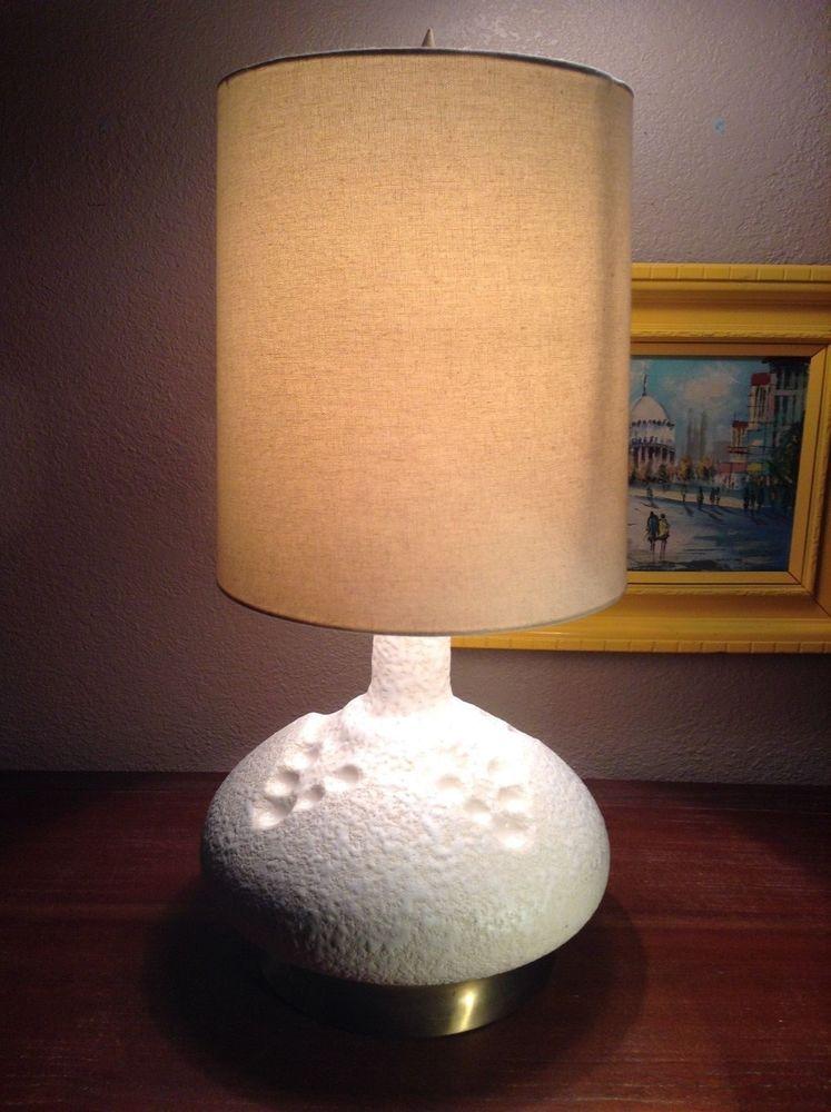 Mid Century Heavy Lava White Glaze Atomic Lamp Brass Finish Base   eBay