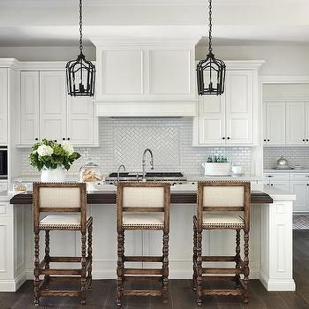 Stained Wood Top Kitchen Island