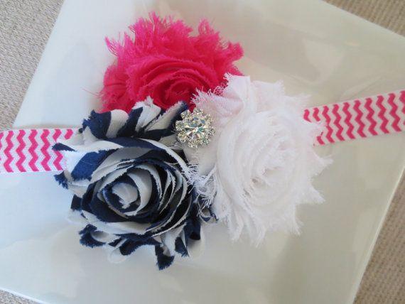 Hot pink and navy blue baby headband hot pink by hartsandflowers, $7.50