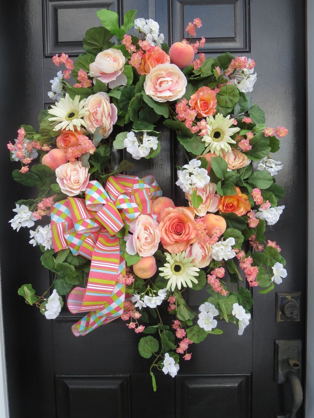 Photo of Summer Wreath for Front Door, Spring Door Wreath, Door Decor, Mother's Day Gift, Geraniums, Peaches, Shabby Chic, French Country Wreaths