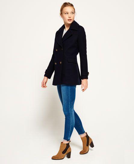 Superdry Pea Coat Womens, Superdry Classic Pea Coat Navy