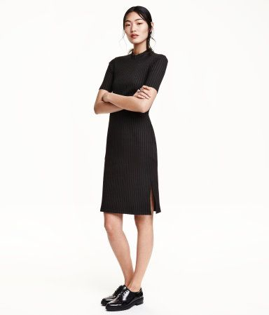 3fdd48ca Fitted dress in ribbed jersey with a mock turtleneck, short sleeves, and  slits in sides.