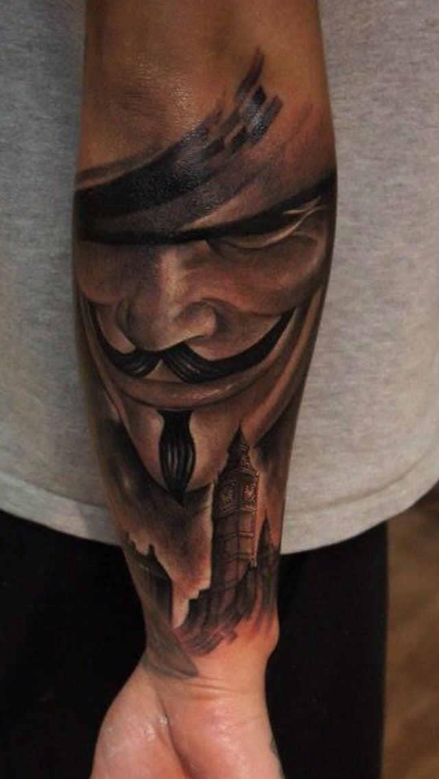 V For Vendetta Mask Tattoo Pin by Jeovan M...
