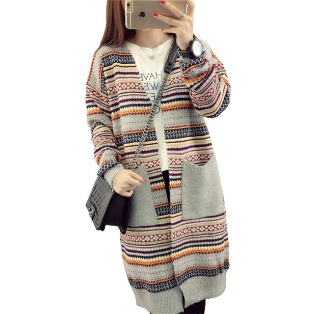Check lastest price 2017 New Arrival Fashion Retro Striped Women Cardigan Sweater Pocket Long Knit Cardigan Autumn Winter Casual Sweater C900 just only $16.25 with free shipping worldwide  #womansweaters Plese click on picture to see our special price for you