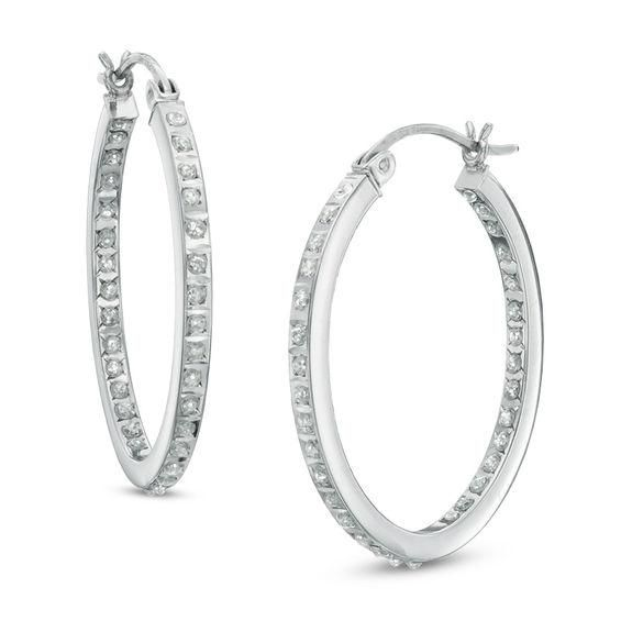 Zales Diamond Fascination Inside-Out Hoop Earrings in Sterling Silver with Platinum Plate MU5CS6qOL
