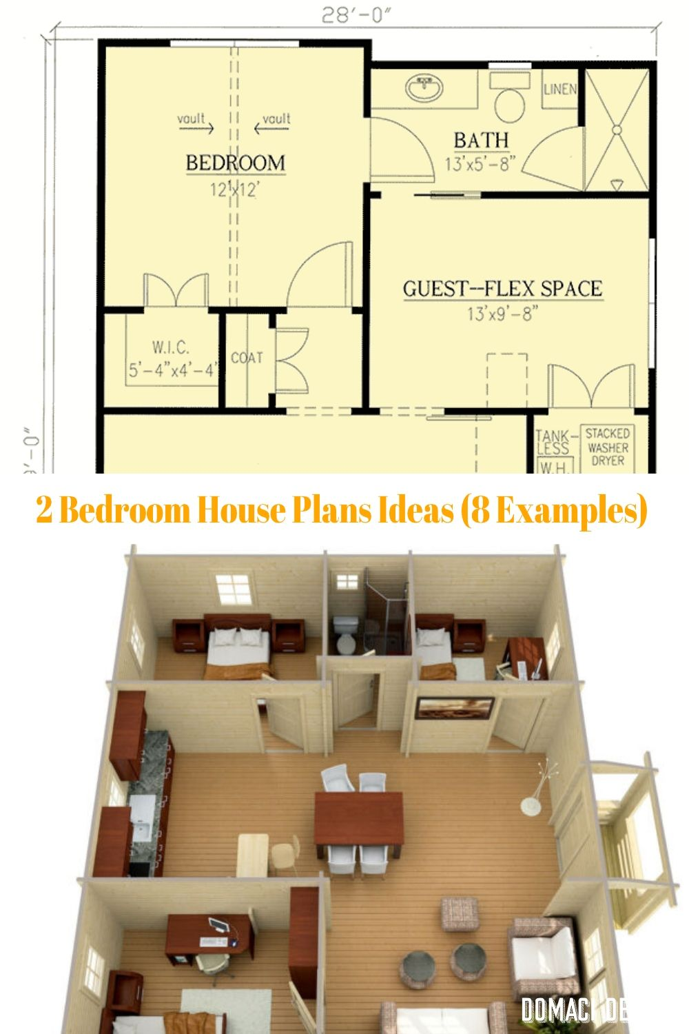 2 Bedroom House Plans Ideas 8 Examples Bedroom House Plans House Plans 2 Bedroom House Plans