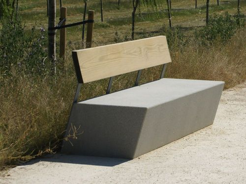 Stone and wood bench o2 pilates contemporary public bench in wood and stone with backrest zuera by publicscrutiny Gallery