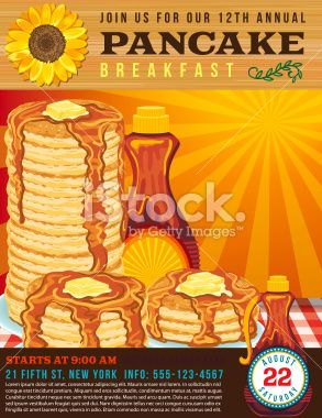 poster or flyer for a pancake breakfast fundraiser event along the