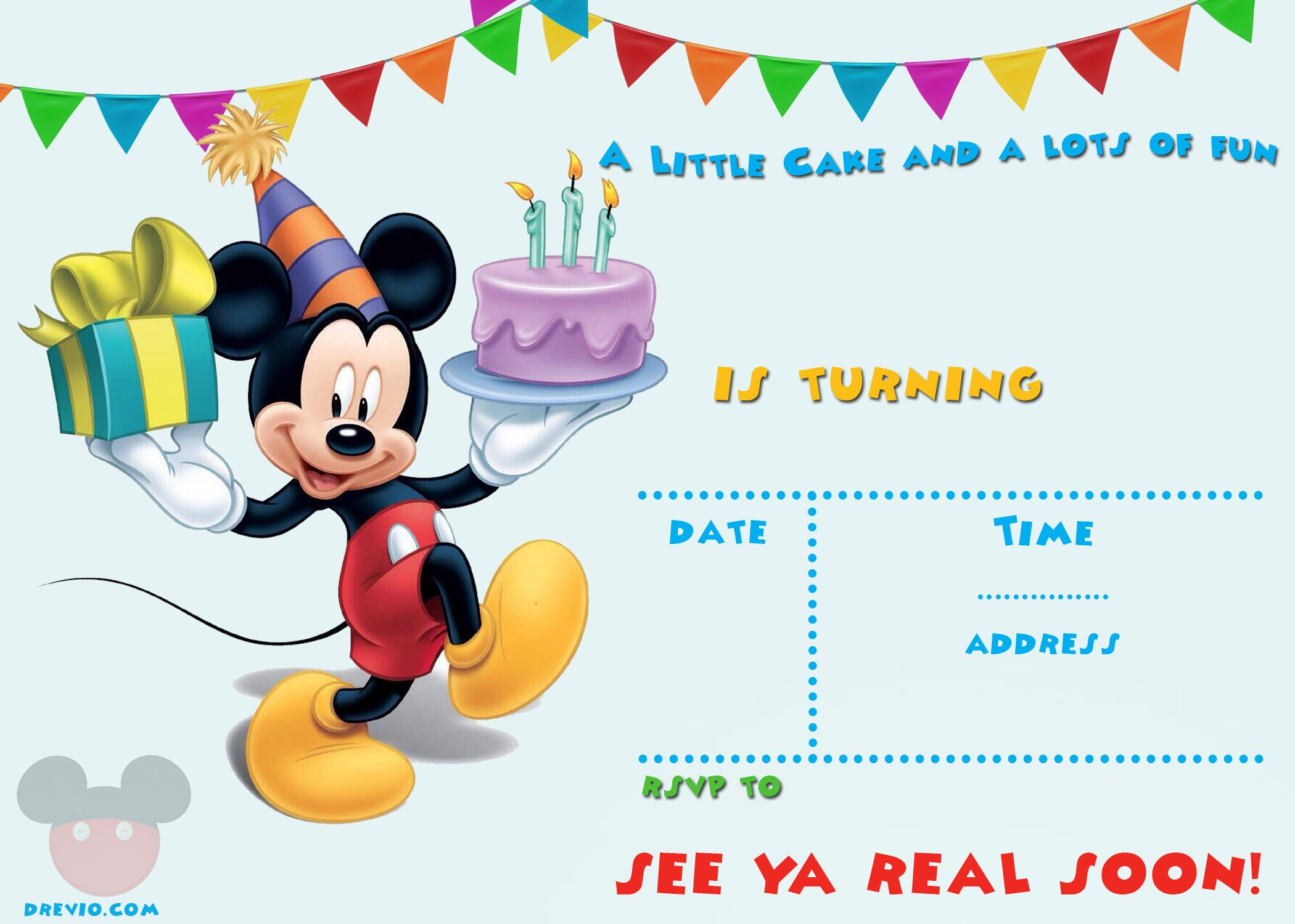 FREE Printable Mickey Mouse Party Invitation Template  Mickey