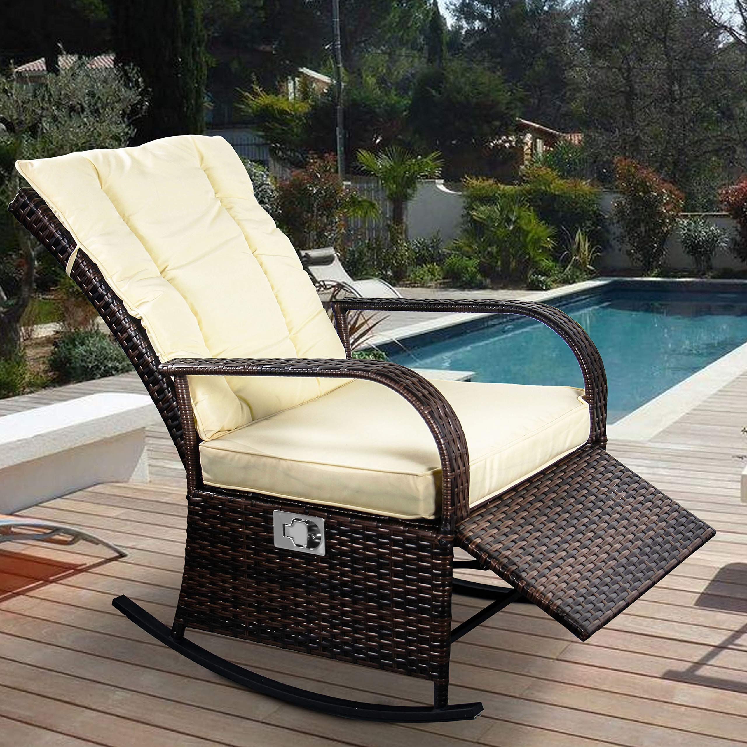 Enstver Indoor And Outdoor Reclining Chairporch Garden Lawn Deck Wicker Rocke Chairauto Adjustable Rattan Sofa W Cush With Images Reclining Sofa Outdoor Chairs Rattan Sofa