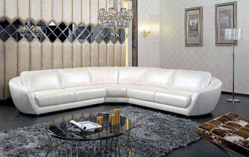 5676 Contemporary Italian White Pearl Leather Sectional Sofa Free Shipping Euroluxfurniture 116 3 145 00