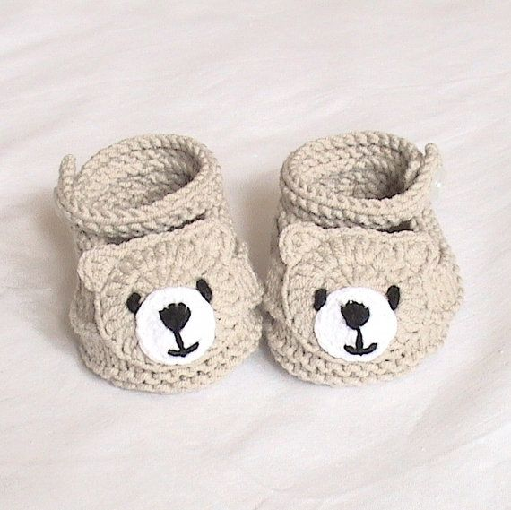Knitted bear shoes,Knitted baby shoes,Knitted baby booties,Knitted ...