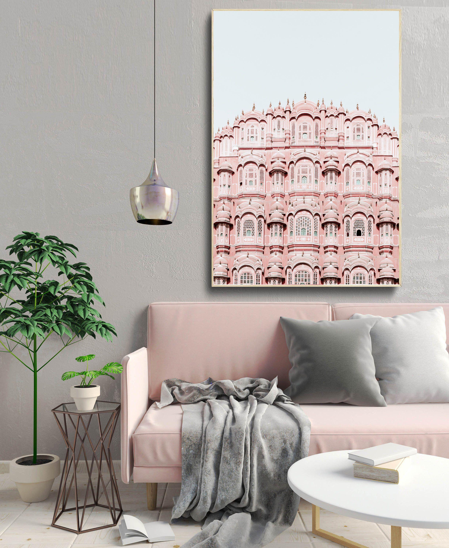 Pink Building Print Oriental Wall Art Oriental Architecture Etsy Oriental Wall Art Architecture Poster Decor