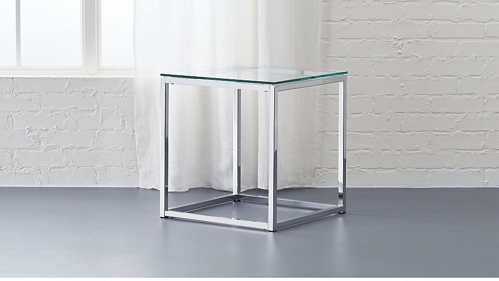 Will Look Perfect Next To Cb2 Tandom Sleeper With Marble Chess Set On Top In Office Smart Glass Top Side T Modern Side Table Glass Side Tables Side Table