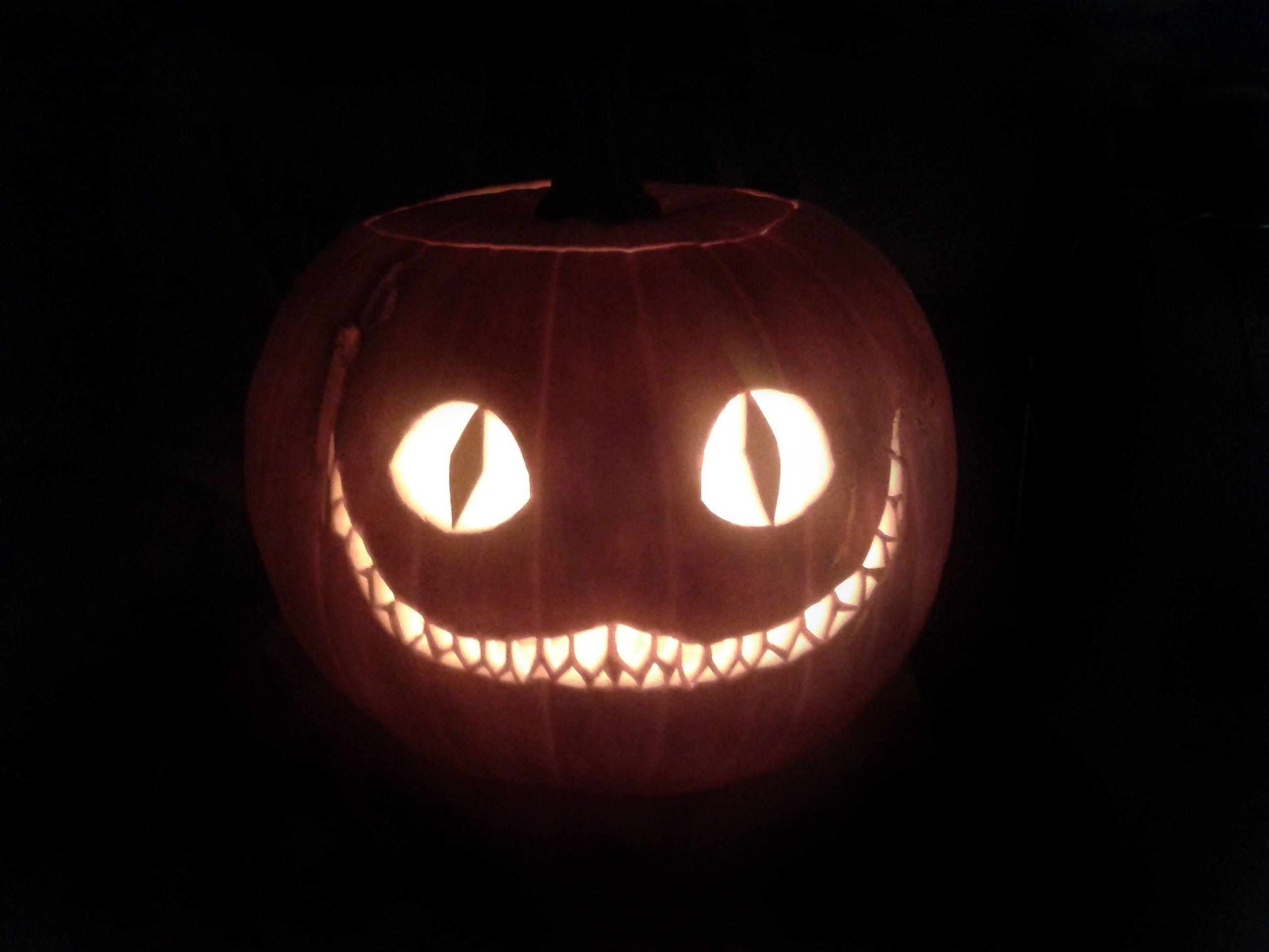 Wa walking dead pumpkin stencil - Halloween Pumpkin Carving Scarry Cheshire Cat