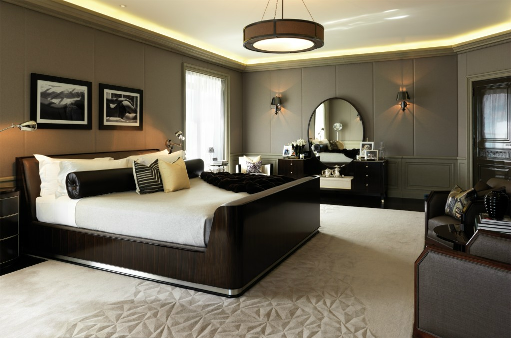 Italian Master Bedroom With Dark Brown Cabinets And Round Chandelier.  #KBHome