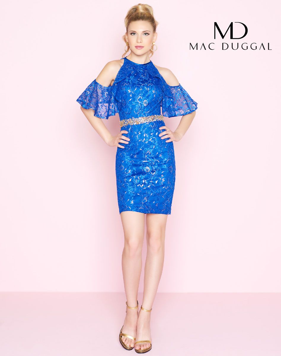 Off the shoulder short cocktail dress features lace and illusion