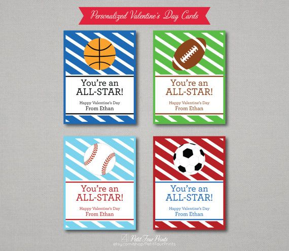 Outer Space Valentine Card Set Personalized Valentine Cards – Sports Valentines Cards