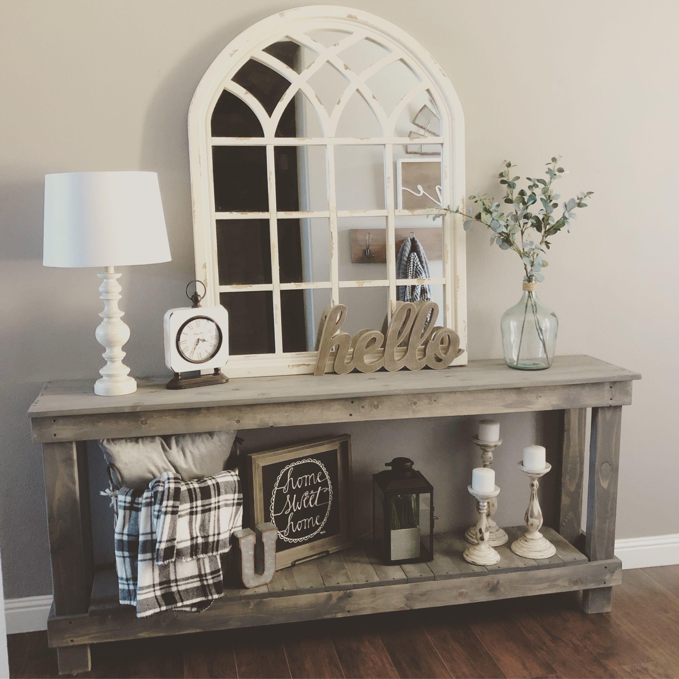 DIY console table farmhouse inspired | Sofa table decor ...