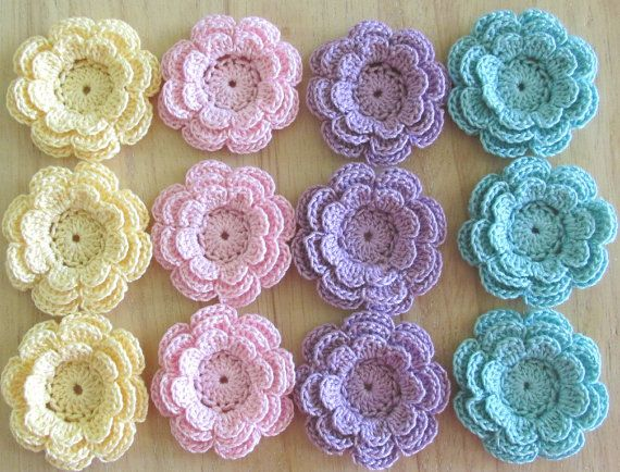 12 small cotton crochet flowers in a variety of lovely pastel colors These pretty flower embellishments are crocheted in 3 layers. Each