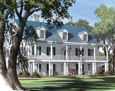 Plantation Style House Plans Harbine Plantation Home Plan: plantation style house plans