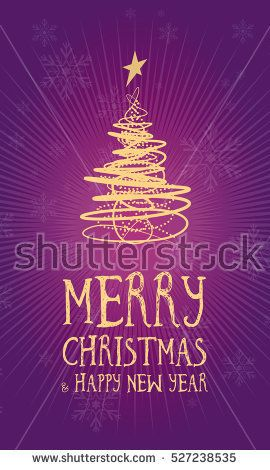 Merry Christmas Greetings Card Vertical With Snowflakes Lilac Background And Golden Geometric Tree