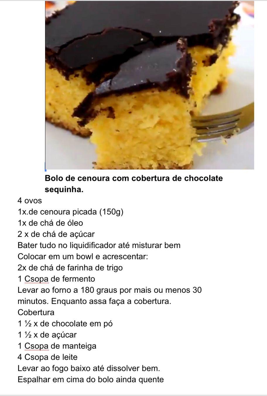 Bolo De Cenoura Com Cobertura Sequinha De Chocolate Receitas