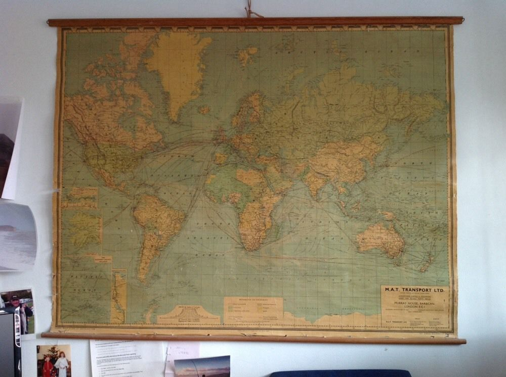 Large industrial hanging wall world map industrial antique maps large industrial hanging wall world map in antiques maps world maps ebay gumiabroncs Images