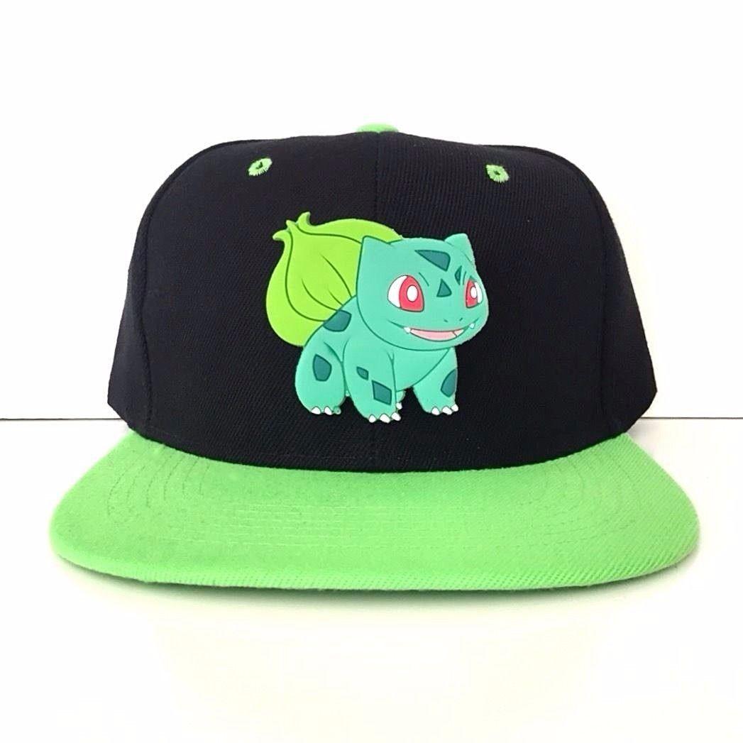 f5678724a74 Custom Gamer Bulbasaur Pokemon Anime Cosplay Snapback Hat Widebrim EDM Cap
