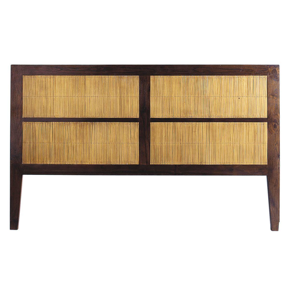 Tête de lit en teck massif et bambou teinté L 160 cm Bamboo | bois ...